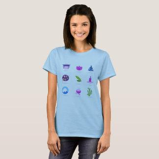 Ladies t-shirt blue wellness icons