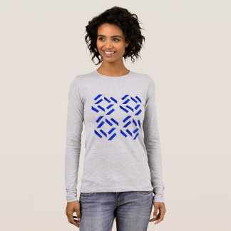 Ladies t-shirt grey with Blue geometric art