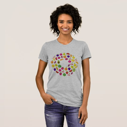 Ladies t-shirt grey with fruit