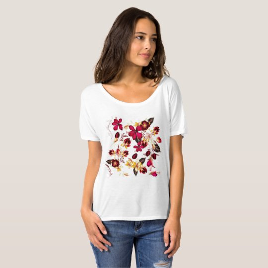 Ladies t-shirt white with flowers