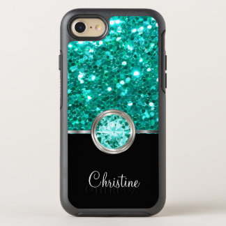 Ladies Turquoise Faux Glitter OtterBox Symmetry iPhone 7 Case