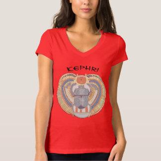 Ladies V neck T shirt with Scarab Design Kephri