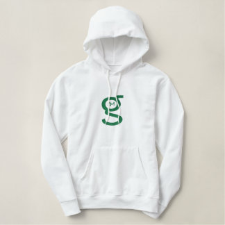 Ladies white hoodie w Green Logo