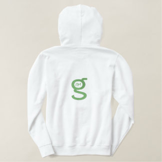 Ladies White Hoodie w Lt. Green Logo on Back