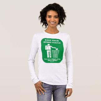 ladies' white, keep your spirit clean long sleeve long sleeve T-Shirt
