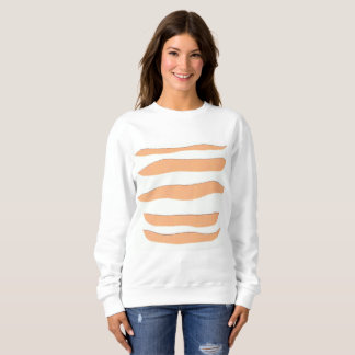 Ladies' White Sweatshirt with Orange Tiger Stripes