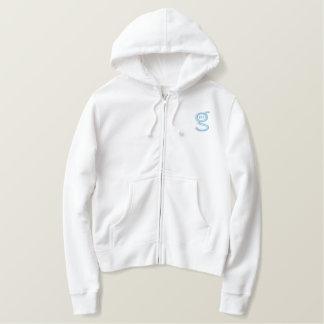 Ladies White Zip Hoodie w Lt-Blue Logo