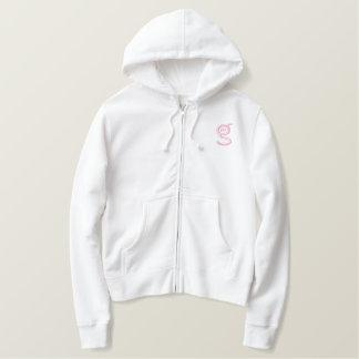 Ladies White Zip Hoodie w Pink Logo