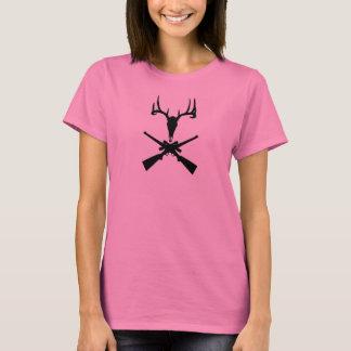 Ladies Whitetail Skull and Rifles Shirt