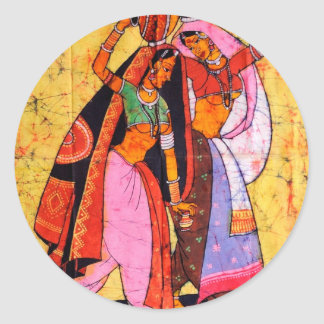LADIES WITH WATER POTS INDIAN BATIK PAINTING ROUND STICKER