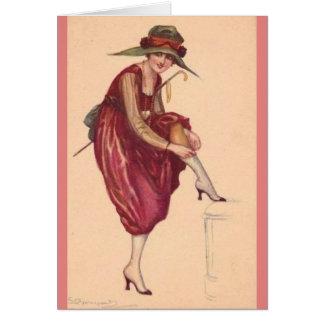 Lady Adjusting Her Stockings, Card