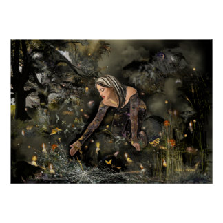 Lady and  Butterflies, large! Poster