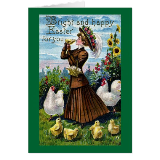 Lady and Chickens Vintage Easter Card