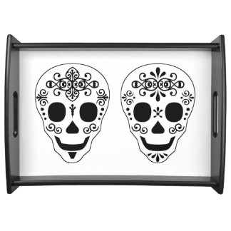 Lady and Gent Sugar Skull by Leslie Peppers Service Tray