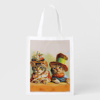 Lady and Gentleman, Cats, Unknown artist Reusable Grocery Bag