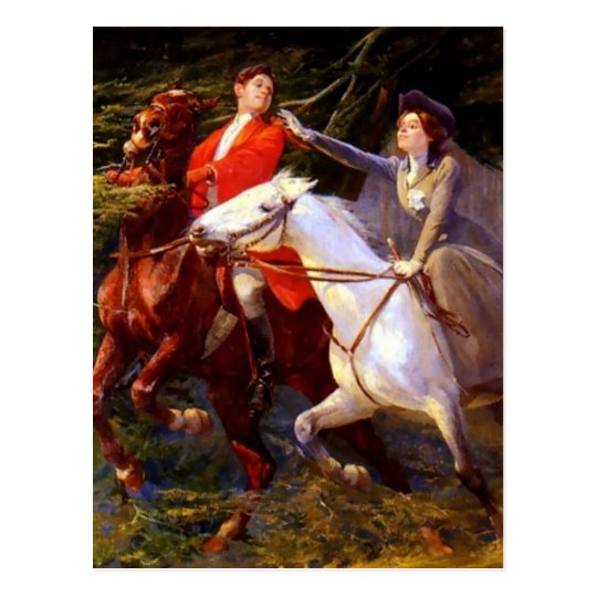 Lady and Gentleman Riding Horses Romantic Love Postcard