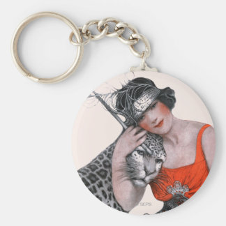 Lady and Leopard Basic Round Button Keychain