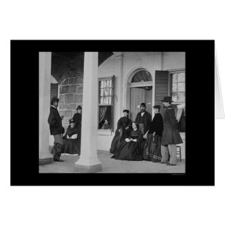 Lady and Officers at Fort Monroe, VA 1864 Card