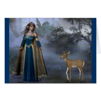 Lady and the Fawn Greeting Card