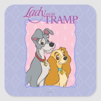 Lady and the Tramp - Frame Square Sticker