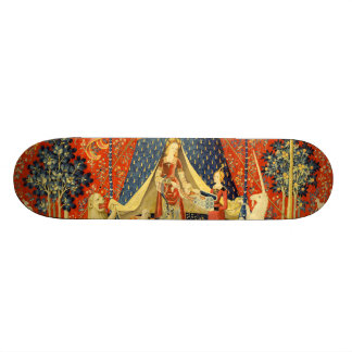 Lady and the Unicorn Medieval Tapestry Art Skate Deck