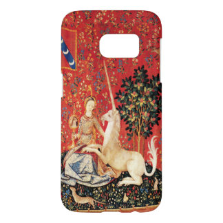 LADY AND UNICORN Fantasy Animals Green Red Floral Samsung Galaxy S7 Case