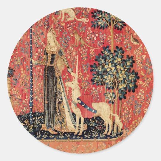 LADY AND UNICORN Fantasy Flowers,Animals Classic Round Sticker