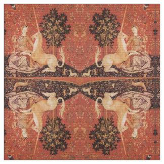 LADY AND UNICORN Fantasy Flowers,Animals Fabric