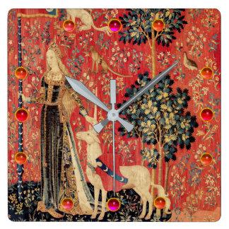 LADY AND UNICORN Fantasy Flowers,Animals,Gemstones Wall Clocks