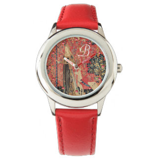 LADY AND UNICORN Fantasy Flowers,Animals Monogram Watch