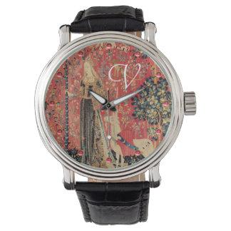 LADY AND UNICORN Fantasy Flowers,Animals Monogram Watch