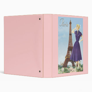 Lady at the Eiffel Tower Vinyl Binders