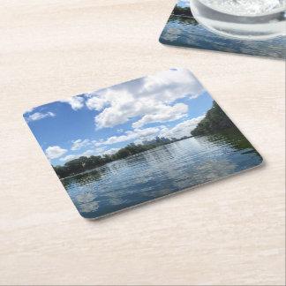 Lady Bird Lake Panorama - Austin - Texas Square Paper Coaster