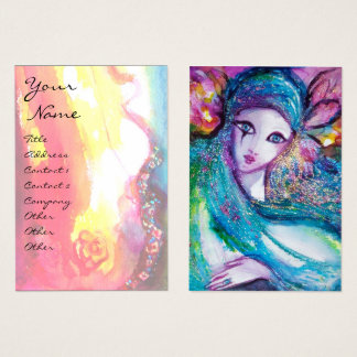 LADY BLUE MASK Venetian Masquerade Pink Gold Rose Business Card