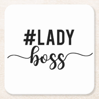 lady boss square paper coaster