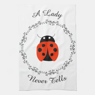 Lady Bug - A Lady Never Tells Personalized Kitchen Towel