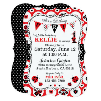 Lady Bug and Polka Dots Birthday Invite