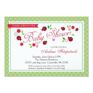 "Lady Bug Baby Shower Invitation 5"" X 7"" Invitation Card"
