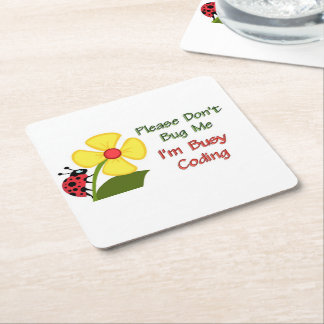 Lady Bug Coding Square Paper Coaster