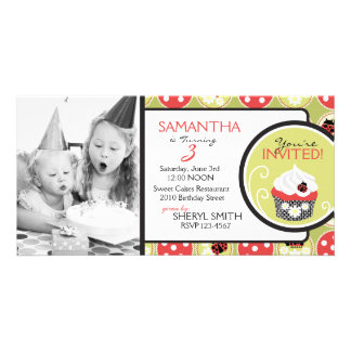 Lady Bug & Cupcake Birthday Invitation Photo Card