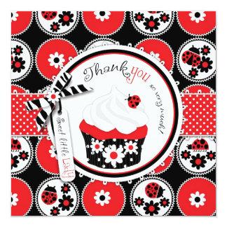Lady Bug Cupcake Thank You Card