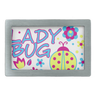 Lady bug design rectangular belt buckles