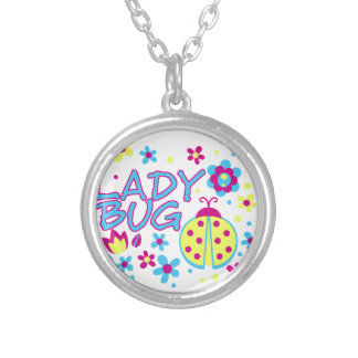 Lady bug design silver plated necklace