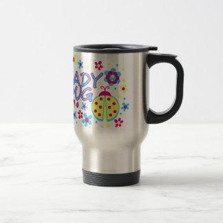 Lady bug design travel mug