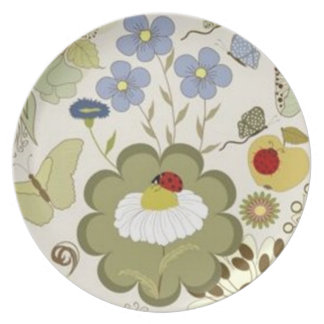 "'Lady-Bug_Floral""_Melamine_Everyday_ Party Plate"