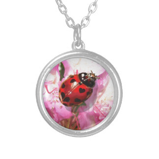 Lady bug heart spot pink floral neckless silver plated necklace