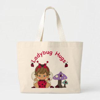 Lady Bug Hugs 2 Large Tote Bag
