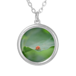 LADY BUG ON LEAF AUSTRALIA SILVER PLATED NECKLACE