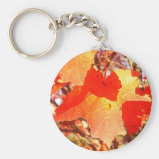 Lady Bug on Red Maple leaf Keychains