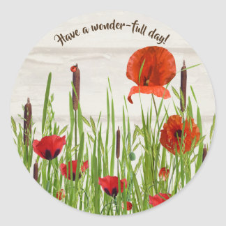 lady bug on red poppies with cattails classic round sticker